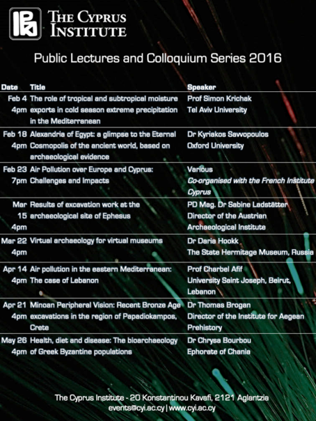 Public Talks and Colloquium Series 2016